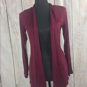 Women'S Long-Sleeved Cardigan - Burgundy